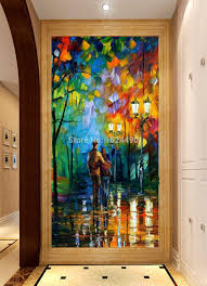canvas painting for home decoration hand painted landscape city lovers night view knife modern canvas
