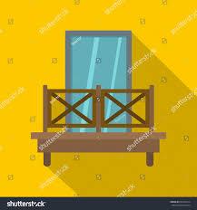 balcony wooden fence icon flat illustration stock illustration