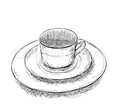 hand drawn cup and plate dishware sketch stock vector colourbox