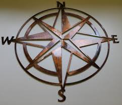 nautical compass rose wall art decor copper bronze plated in home