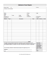 Insurance Quote Sheet Template Estimate Of Auto Repairs Template
