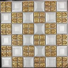 2017 sale porcelain gold white color square mosaic tile wall