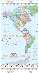 World Time Zones Map Digital Vector North And South Americas Time Zones Map 20 000 000