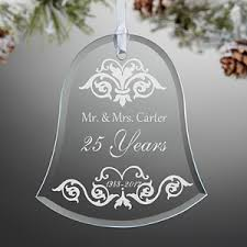 Anniversary Christmas Ornament Personalized Anniversary Glass Bell Christmas Ornament