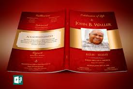 Template For A Funeral Program Red Gold Dignity Funeral Program Publisher Template On Behance