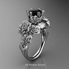 rose rings images Nature inspired 14k white gold 1 0 ct black diamond rose bouquet jpg