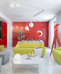 interior apartments interior design mixed with simple wooden striking yellow sofas facing unusual white table and red side wall also white curtain plus