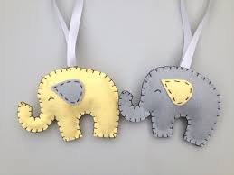 felt elephant ornament grey and yellow elephant by sosimplesosweet