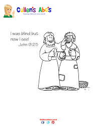 bible key point coloring jesus heals blind man