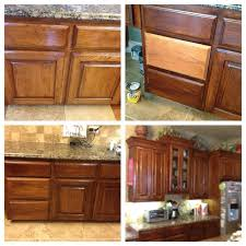 staining kitchen cabinets before and after before and after of oak cabinets lightly sanded and then used gel