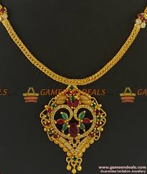 emerald stone necklace jewelry images Nckn299 big ruby emerald stone gold plated south indian jpg