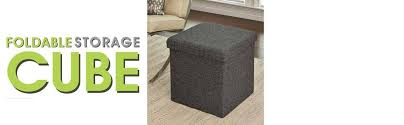 amazon com seville classics foldable storage ottoman charcoal
