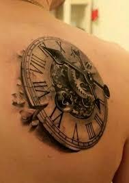 tattoo 3d mechanical realistic mechanical gear clock tattoo on shoulder