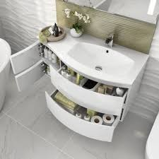 Wall Vanity Units 1040mm Amelie High Gloss White Curved Vanity Unit Soak Com