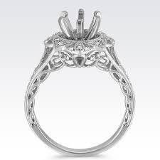 halo engagement ring settings only vintage floral halo engagement ring with pavé setting