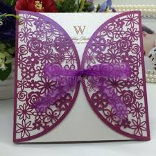 white gold and purple wedding shop flower wedding invitations on wanelo