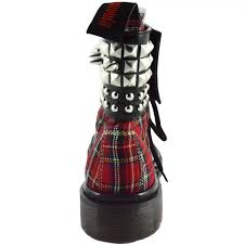 mens biker style boots red plaid gothic biker punk ankle boots for women with studded cuff