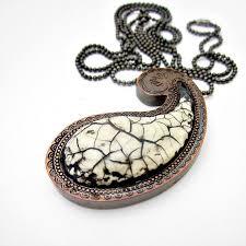 antique necklace chain images Long antique white paper mache paisley pendant necklace on ball jpg