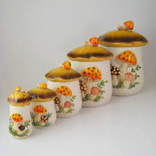Red Kitchen Canisters Sets Sears Merry Mushrooms Ceramic Kitchen Canister Set Retro 1970