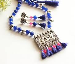 beaded tassel necklace images Blue pink necklace set blue beaded tassel necklace earrings set at jpg