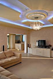 fantastic living room idea with blue hidden ceiling lights paint