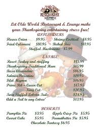 monthly specials calendar the olde world restaurant and lounge