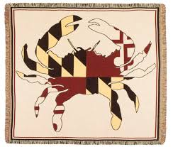 Maryland Flag Vinyl Crab State Flag Of Maryland Woven Tapestry Afghan Throw Blanket 60