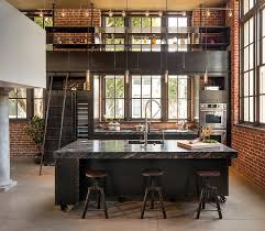 Modern Kitchen Ceiling Light Fixtures Modern Industrial Kitchen With Exposed Brick Walls And Black