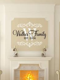 custom last name monogram vinyl decal set family vinyl wall this fancy script initial est personalized wall decal by the vinyl company is perfect