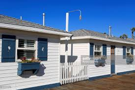 San Diego Cottages by Cottages On Crystal Pier Pacific Beach San Diego California Stock