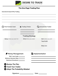 Plan Template Get The One Page Trading Plan Desire To Trade