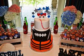 sports themed baby shower decorations sports themed cake and sweet table simply sweet creations flickr