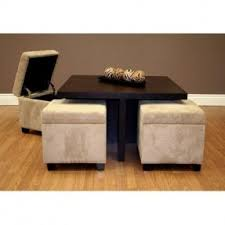 coffee table with 4 storage ottomans open travel