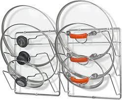 kitchen cabinet door pot and pan lid rack organizer 2 pack simple houseware cabinet door wall mount pot lid organizer rack chrome