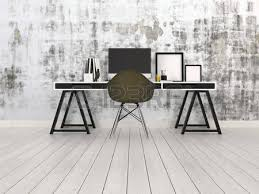 Trestle Computer Desk Stylish Modern Black And White Office Interior With A Trestle