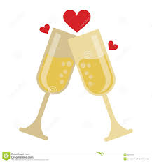 champagne glass cartoon two cup glass champagne love heart celebration stock vector