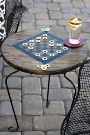 Outdoor Checker Table Made From Tv Tray Board Combo I Drew A Checker Board On This Wood Tray
