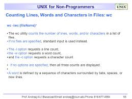 Count No Of Words In Unix Unix For Non Programmers Lecturer Prof Andrzej Aj Bieszczad