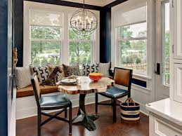 small breakfast nook table with banquette seating and chairs
