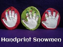 winter handprint snowman ornaments teach toddlers