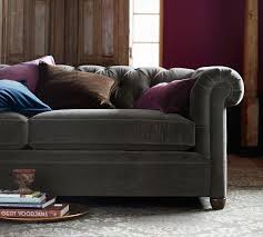 chesterfield sofa with chaise chesterfield upholstered sofa pottery barn with pottery barn