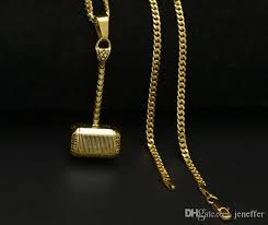 wholesale top sale newest stainless steel gold thor hammer pendant