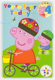 peppa pig age 4 birthday card with badge cardspark