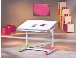 bureau relevable pour enfant design blanc et vert avec plateau relevable colorfull