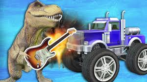 monster truck videos please dinosaur singing most funny video for children dinosaurs and