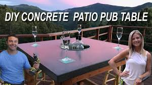 Patio Table Cooler by How To Make A Concrete Patio Pub Table With Led Lights And A