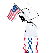 patriotic peanuts snoopy with flag windsock