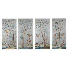 canvas room divider four large scale decorative chinoiserie oil on canvas panels for