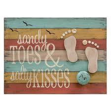 beach theme decor for home sandy toes and salty kisses wooden sign coastal beach theme home