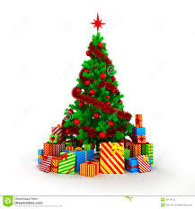 3d christmas tree with colorful ornaments and presents stock